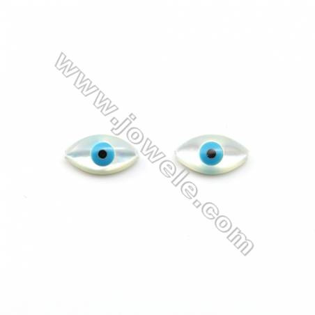White mother-of-pearl in an eye shape (nazar) 8x15.5mm  hole 0.8mm   20pcs/pack