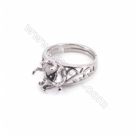 Sterling silver platinum plated adjustable finger ring setting for half drilled beads   diameter 17mm  pin 0.9mm  tray 7mm