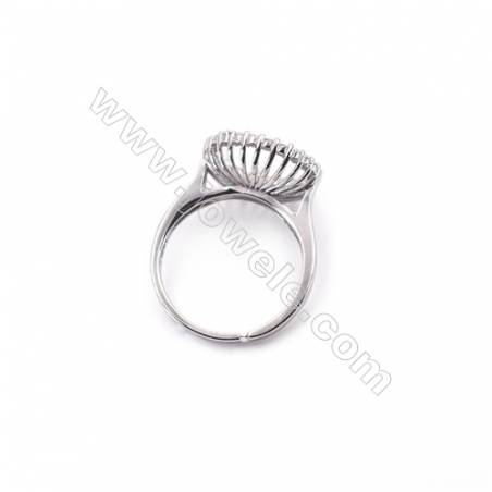 Sterling silver platinum plated adjustable finger ring setting for half drilled beads  diameter 16.5mm  pin 0.8mm  tray 14mm