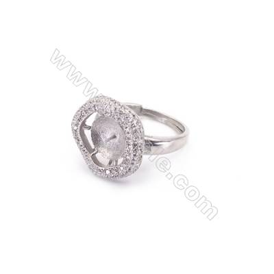 Sterling silver platinum plated adjustable finger ring setting for half drilled beads  diameter 17mm  pin 0.5mm  tray 9mm
