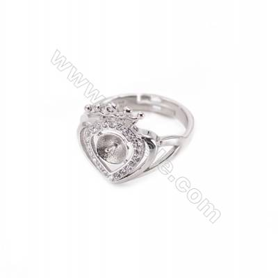 Sterling silver platinum plated adjustable finger ring setting for half drilled beads  diameter 17mm  pin 0.9mm  tray 5mm