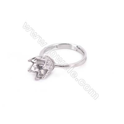 Sterling silver platinum plated adjustable finger ring setting for half drilled beads  diameter 16.5mm  pin 0.9mm  tray 6mm