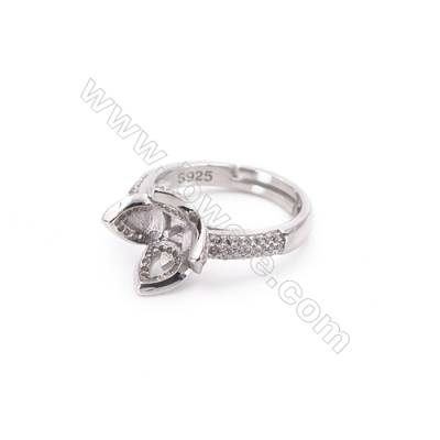 925 Sterling Silver Adjustable Finger Ring Charm-A3S5  Diameter 16.5mm  Tray 7mm  Pin 0.9mm  Rhodium Plated  Zircon Micro Pave