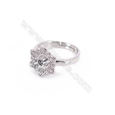 Platinum plated sterling silver adjustable finger ring setting  zircon micro-pave  diameter 16mm  pin 0.6mm  tray 6mm x 1pc
