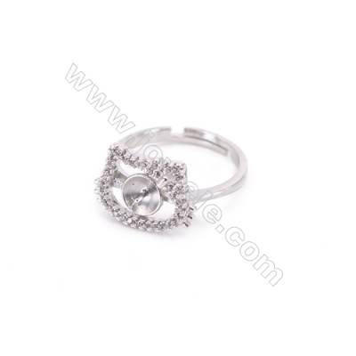 925 Sterling Silver Adjustable Finger Ring Charm-A3S6  Diameter 16mm  Tray 5mm  Pin 0.7mm  Rhodium Plated  Zircon Micro Pave