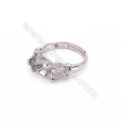 Platinum plated sterling silver adjustable finger ring setting  zircon micro-pave  diameter 16mm  pin 0.7mm  tray 8mm x 1pc