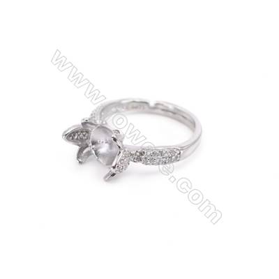 925 Sterling Silver Adjustable Finger Ring Charm-A3S7  Diameter 17mm  Tray 7mm  Pin 1mm  Rhodium Plated  Zircon Micro Pave