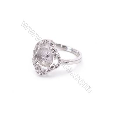 Platinum plated sterling silver adjustable finger ring setting  zircon micro-pave  diameter 16mm  pin 0.9mm  tray 8mm x 1pc