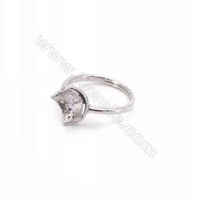 Platinum plated sterling silver adjustable finger ring setting  zircon micro-pave  diameter 16mm  pin 0.7mm  tray 6mm x 1pc