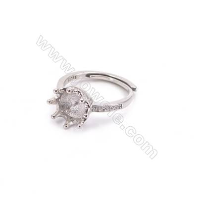 Platinum plated sterling silver adjustable finger ring setting  zircon micro-pave  diameter 15mm  pin 0.8mm  tray 6mm x 1pc