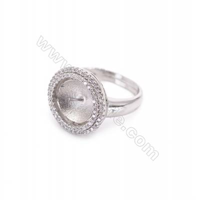 Platinum plated sterling silver adjustable finger ring setting  zircon micro-pave  diameter 16mm  pin 0.8mm  tray 10mm x 1pc