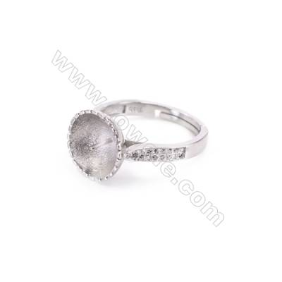 925 Sterling Silver Adjustable Finger Ring Charm-A3S9  Diameter 16mm  Tray 10mm  Pin 0.8mm  Rhodium Plated  Zircon Micro Pave