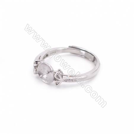 Adjustable sterling silver platinum plated rings  zircon ring for half drilled beads  diameter 17mm  tray 7mm pin 0.7mm X 1pc