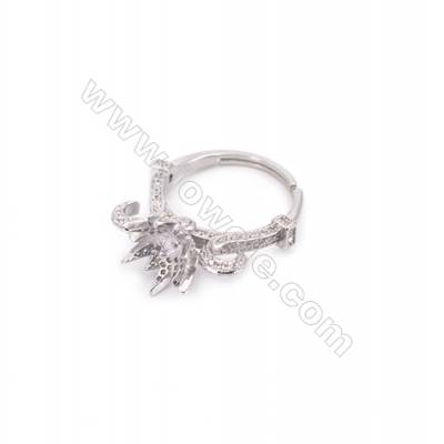 Platinum plated sterling silver adjustable finger ring setting  zircon micro-pave  diameter 17mm  pin 0.7mm  tray 6mm x 1pc