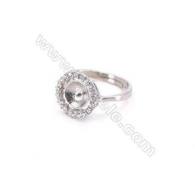 Platinum plated sterling silver adjustable finger ring setting  zircon micro-pave  diameter 16mm  pin 0.8mm  tray 7mm x 1pc