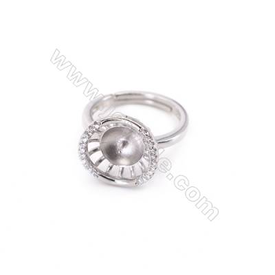 Platinum plated sterling silver adjustable finger ring setting  zircon micro-pave  diameter 17mm  pin 0.8mm  tray 7mm x 1pc