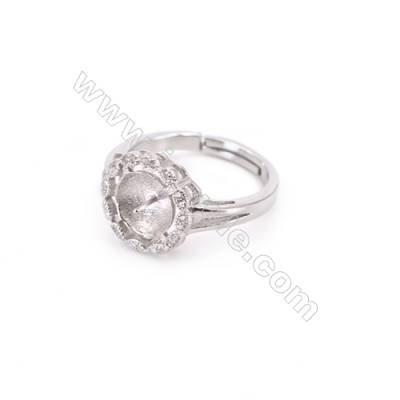 Platinum plated sterling silver adjustable finger ring setting  zircon micro-pave  diameter 16mm  pin 0.8mm  tray 8mm x 1pc