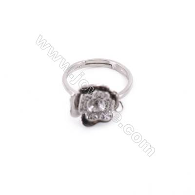 Platinum plated sterling silver adjustable finger ring setting  zircon micro-pave  diameter 16mm  pin 0.7mm  tray 4mm x 1pc