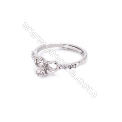 Platinum plated sterling silver adjustable finger ring findings  zircon micro-pave  diameter 18mm  pin 0.7mm  tray 4mm x 1pc