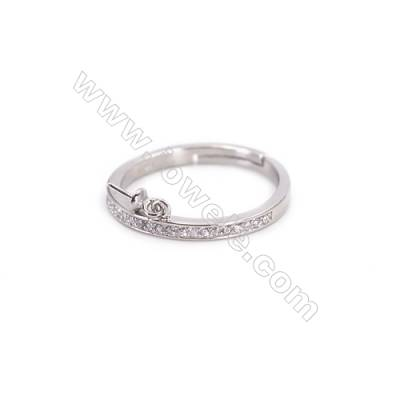 Platinum plated sterling silver adjustable finger ring findings  zircon micro-pave  diameter 17mm  pin 0.7mm  tray 3mm x 1pc