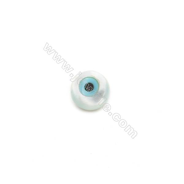 Nazar (round blue eye) made of white mother-of-pearl, 5mm, hole 0.8mm, 30pcs/pack