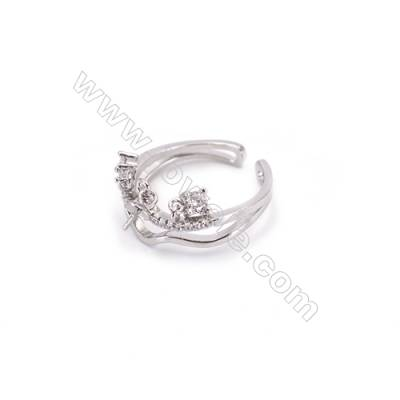 Platinum plated sterling silver adjustable finger ring findings  zircon micro-pave  diameter 17mm  pin 0.6mm  tray 4mm x 1pc
