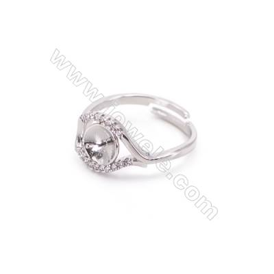 Zircon micro-pave adjustable finger ring findings  sterling silver  platinum plated  diameter 17mm  tray 7mm  pin 0.9mm X 1pc