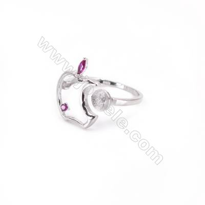 Zircon micro-pave adjustable finger ring findings  sterling silver  platinum plated  diameter 18mm  tray 6mm  pin 0.9mm X1pc