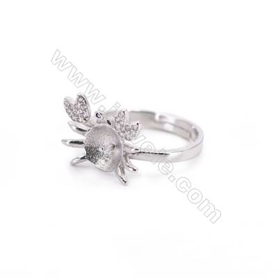 Zircon micro-pave adjustable finger ring findings  sterling silver  platinum plated  diameter 16mm  tray 7mm  pin 0.9mm X 1pc