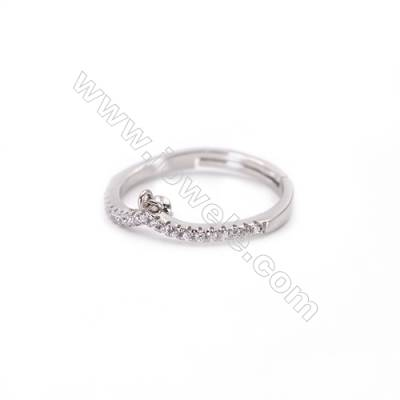 Platinum plated sterling silver adjustable finger ring findings  zircon micro-pave  diameter 17mm  pin 0.6mm  tray 3mm x 1pc