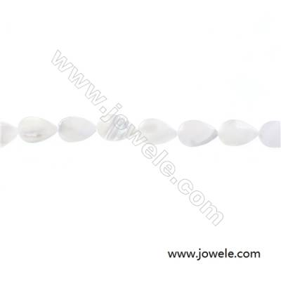 """White mother-of-pearl water droplets beaded strand in diameter 8x12 mm  hole diameter 0.6 mm  about 32 beads / strand  15 ~ 16"""""""