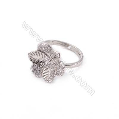 Zircon micro-pave adjustable finger ring findings  sterling silver  platinum plated  diameter 17mm  tray 8mm  pin 0.9mm X1pc