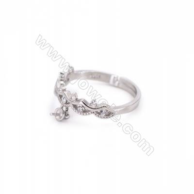 Platinum plated sterling silver adjustable finger ring findings  zircon micropave  diameter 17mm  pin 0.7mm  tray 3mm x 1pc