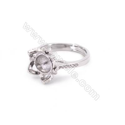 Zircon micro-pave adjustable finger ring findings  sterling silver  platinum plated  diameter 17mm  tray 6mm  pin 0.9mm X1pc