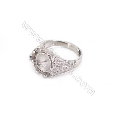 Zircon micro-pave adjustable finger ring findings  sterling silver  platinum plated  diameter 18mm  tray 9mm  pin 0.8mm X 1pc