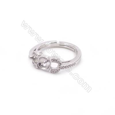 Zircon micro-pave adjustable finger ring findings  sterling silver  platinum plated  diameter 15mm  tray 6mm  pin 0.7mm X 1pc