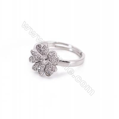 Platinum plated sterling silver adjustable finger ring findings  zircon micro-pave  diameter 17mm  pin 0.8mm  tray 3mm x 1pc