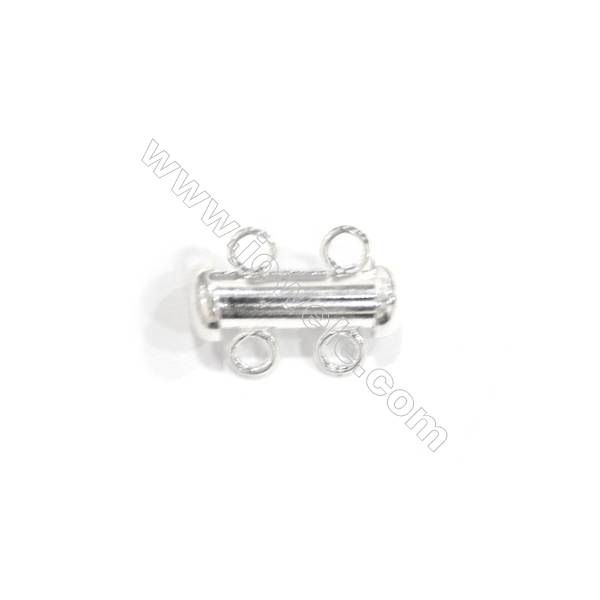 DoreenBeads Lovely Silver Plated 2 Strands Magnetic Slide Clasps, 11x15 mm, x 10pcs
