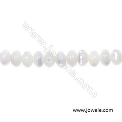 White mother-of-pearl abacus beaded strand in size 4x6 mm and hole  diameter 0.7 mm  about 124 beads / strand  15 ~ 16 ''