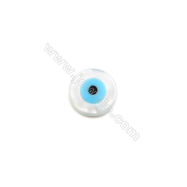 White mother-of-pearl round nazar (blue eye), 8x3mm, hole 0.8mm, 30pcs/pack