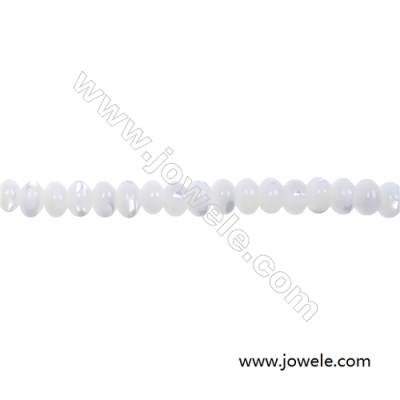 White mother-of-pearl abacus beaded strand in size 3x4mm and hole  diameter 0.7 mm   about 150 beads / strand   15 ~ 16""