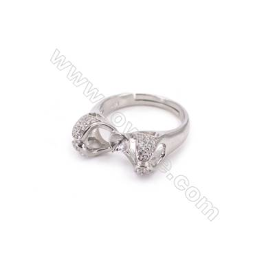 Adjustable finger ring sterling silver platinum plated findings  zircon micropave  diameter 18mm  pin 0.7mm  tray 5mm x 1pc