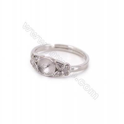 Sterling silver platinum plated adjustable finger ring findings  zircon micropave  diameter 18mm  tray 6mm  pin 0.8mm X 1pc