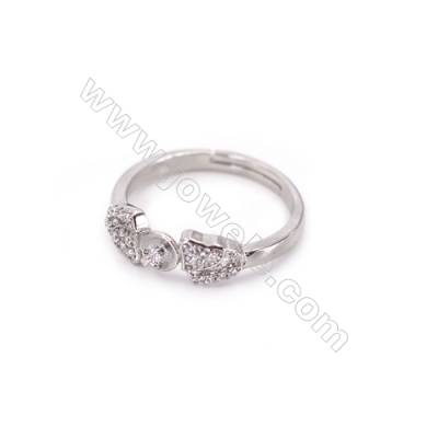 Sterling silver platinum plated adjustable finger ring findings-K3S4  zircon micropave  diameter 17mm  tray 4mm  pin 1mm X 1piec