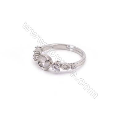 Adjustable finger ring sterling silver platinum plated findings  zircon micropave  diameter 17mm  pin 0.8mm  tray 6mm x 1pc