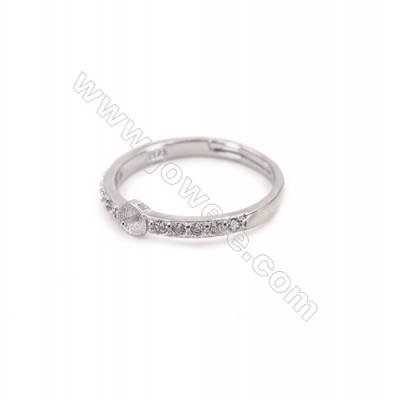 Adjustable finger ring sterling silver platinum plated findings  zircon micropave  diameter 16mm  pin 0.7mm  tray 4mm  x 1pc
