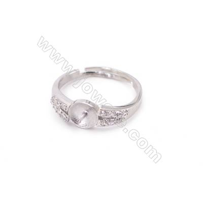 Sterling silver platinum plated adjustable rings  ring findings for half drilled beads  diameter 17mm  tray 6mm pin 0.9mm  X 1pc