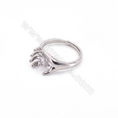 Platinum plated sterling silver adjustable finger ring findings-L3S7   diameter 17mm  tray 4mm  pin 0.8mm X 1piec