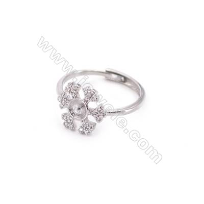 Sterling silver platinum plated adjustable rings  ring findings for half drilled beads  diameter 16mm  tray 5mm pin 0.7mm  X 1pc