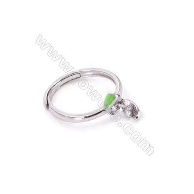 Sterling silver platinum plated adjustable rings  findings for half drilled beads  diameter 16mm  tray 5mm pin 0.7mm  X 1pc